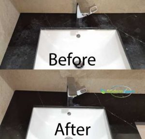 Before And After Marble Vanity Top Polishing