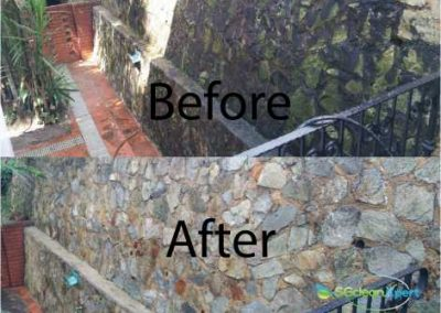 Before & After Algae Wall Cleaning