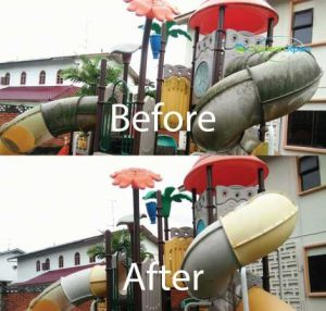 Before & After Playgroud Algae Cleaning