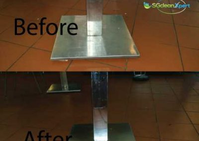 Before And After Table Base Cleaning