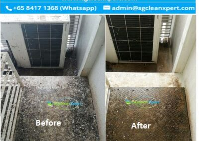 Before and After Aircon Ledge Cleaning - Pigeon poop & Bird Droppings Cleaning