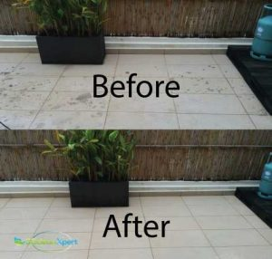 Before and after floor scrubbing cleaning