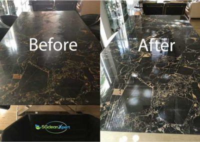 Before And After Marble Table Polish