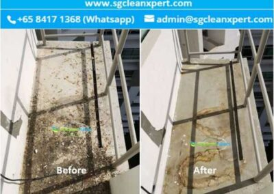 Before and After Aircon Ledge Cleaning - Pigeon Droppings & Bird Poop Cleaning